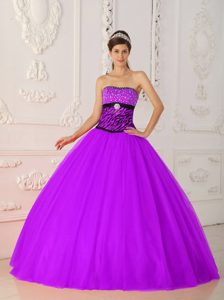 Strapless Tulle and Zebra Quinceanera Dress with Beading for Custom Made
