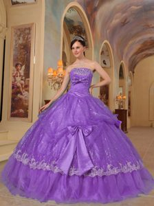 Purple Strapless Organza Quinceanera Dress with Bows and Sequins for 2014