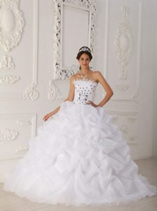 New White Organza Beaded Quinceanera Dress with Pick-ups and Court Train