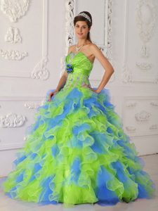 Multicolor Organza Quinceanera Dress with Appliques and Hand Made Flower