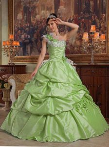 New Green One Shoulder Taffeta Quinceanera Dress with Hand Made Flowers