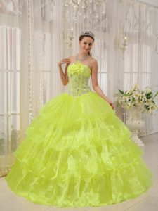 Yellow Strapless Taffeta and Organza Quinceanera Dress Beaded with Flowers
