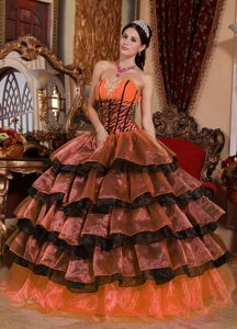 Discount Sweetheart Organza Ruffled Quinceanera Gowns in Multi-color