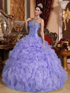 Sweetheart Beaded and Ruffled Fashionable Sweet 15 Dresses in Purple