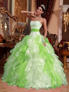 Multi-color Ruched and Beaded Lace-up Organza Sweet Dress for Quince