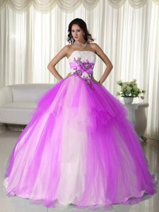 Hot Pink and White Beaded 2013 Best Seller Quince Dresses for Winter
