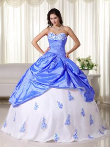 Gorgeous Sweetheart Taffeta Long Quinceanera Dress in Blue and White
