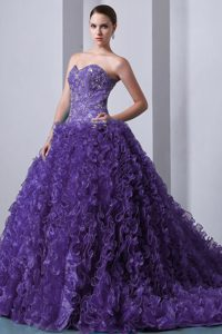 Popular Sweetheart Brush Train Organza Ruffled Long Dresses for Quince