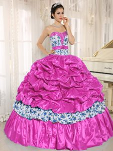 Fashionable Beaded Hot Pink Lace-up Floor-length Dress for Quinceanera