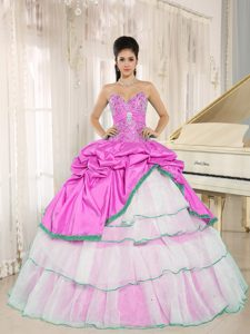 Pink and White Beaded Sweet Sixteen Quinceanera Dresses with Pick-ups