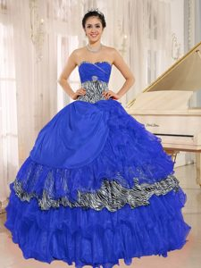 Blue Sweetheart Ruffled Zebra Exquisite Quinceanera Gown Dress for Spring