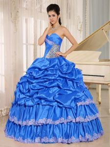 Fabulous Aqua Blue Sweetheart Beaded Quinceanera Gowns with Pick-ups