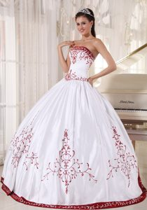 White And Wine Red Satin Quinceanera Gown Dresses with Embroidery