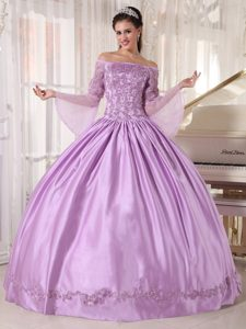 Lavender Off the Shoulder Quinceanera Dress for 2015 with Appliques