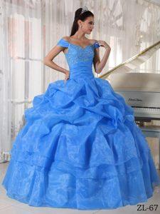 Blue Off the Shoulder Taffeta and Organza Beaded Quinceanera Dresses
