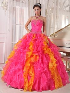 Hot Pink and Orange Organza Sequined Quinceanera Dress with Ruffles