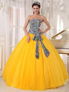 Tulle Sequined Quinceanera Gown Dress for 2015 in Yellow with Printing