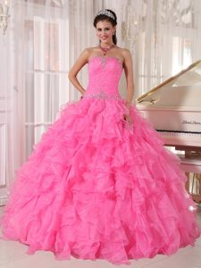 Luxurious Strapless Organza Beaded Quinceanera Gown Dresses in Pink