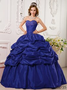 The Brand New Style Taffeta Appliqued Quinceanera Gown Dress in Blue