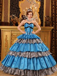 Popular Taffeta Blue Quinceanera Gown Dress for 2015 with Ruffles