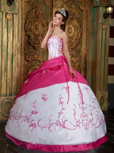 Noble Strapless Embroidered Satin Quinceanera Gown Dress in Fuchsia