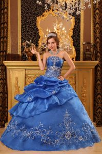 Brand New Blue Strapless Organza Quinceanera Gown Dress with Beading