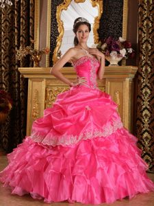 Chic Hot Pink Strapless Quinceanera Gown Dresses for 2015 in Organza