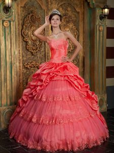 Taffeta and Tulle Lace Appliqued Quinceanera Dress 2012 in Watermelon