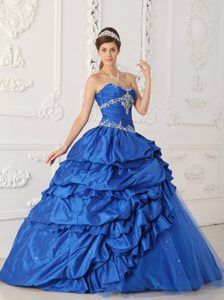 Sweetheart Appliqued Quinceanera Gown Dresses with Beading in Blue