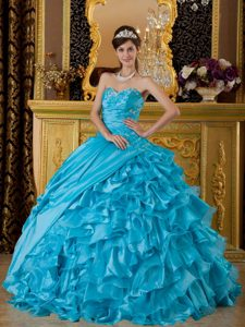 Blue Appliqued Quinceanera Dress in Fall for 2015 in Taffeta and Organza