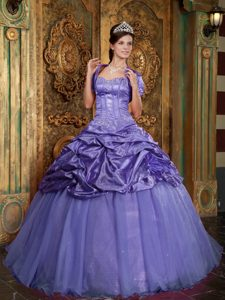 Purple Taffeta and Organza Appliqued Quinceanera Dress with Pick-ups
