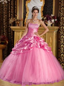 Latest Taffeta and Tulle Beaded Sweet 16 Dresses for 2014 in Rose Pink