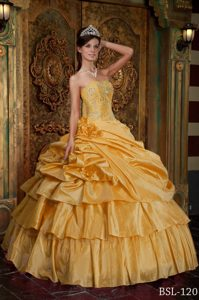 Dramatic Yellow Organza Quinceanera Dress with Beading and Pick-ups
