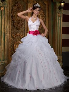 Halter White A-line Organza Beading Quinceanera Dress with Belt on Promotion