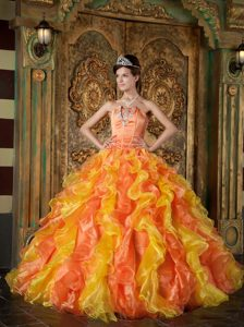 Orange and Yellow Strapless Organza Ruffled Dress for Quince with Appliques