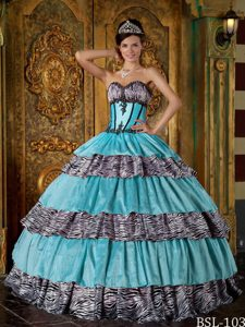 Luxurious Sweetheart Zebra Print Ruffled Layers Quinces Dresses in Turquoise