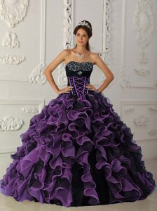 Beading Sweetheart Purple and Black Organza Ruffled Sweet Sixteen Dresses