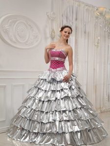 Popular A-line Strapless Beading Quince Dresses in Silver with Ruffled Layers