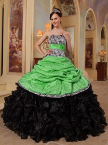 Zebra Print Strapless Green and Black Sweetheart Ruffled Quinceanera Gowns