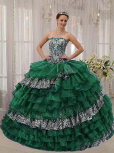 Beading Sweetheart Zebra Print and Green Organza Sweet Sixteen Dresses