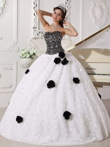 Sequins White and Black Strapless Rolling Flowers Sweet Sixteen Dresses
