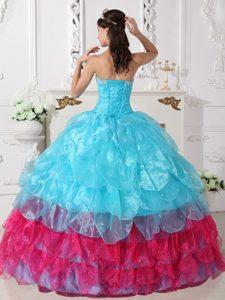 Appliques Strapless Aqua Blue Organza Sweet 16 Dresses with Petal Ruffles