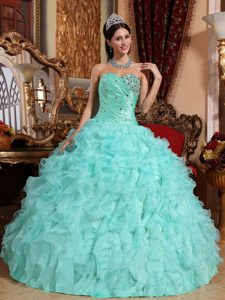 Mint Green Sweetheart Organza Quinceanera Dress with Beading and Ruffles