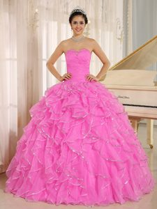 Wholesale Price Sweetheart Beading Pink Quinceanera Dresses with Ruffles