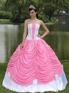 Custom Made Quinceanera Dress Strapless in Pink and White with Pick-ups