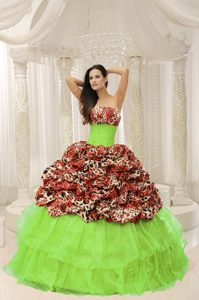 Custom Made Strapless Leopard Print Sweet 15 Dresses in Organza Spring Green
