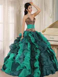 Slot V-neck Leopard Print Multi-color Beading Quinceanera Gown with Ruffles