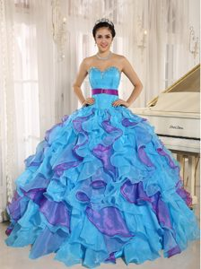 Stylish Aqua Blue Sweetheart Beading Ruffled Quinceanera Dress with Sash