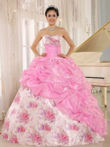 Printing Sweetheart Beading and Pick-ups Sweet Sixteen Dresses in Pink