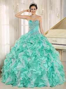 Apple Green Beading Sweetheart 2013 Quinceanera Gown Dress with Ruffles